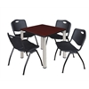 """Kee 30"""" Square Breakroom Table- Mahogany/ Chrome & 4 'M' Stack Chairs- Black"""