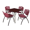 "Kee 30"" Square Breakroom Table- Mahogany/ Chrome & 4 'M' Stack Chairs- Burgundy"