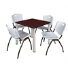 "Kee 30"" Square Breakroom Table- Mahogany/ Chrome & 4 'M' Stack Chairs- Grey"