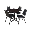 """Cain 30"""" Square Breakroom Table- Mocha Walnut & 4 Restaurant Stack Chairs- Black"""