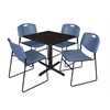"Cain 30"" Square Breakroom Table- Mocha Walnut & 4 Zeng Stack Chairs- Blue"