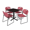 "Cain 30"" Square Breakroom Table- Mocha Walnut & 4 Zeng Stack Chairs- Burgundy"