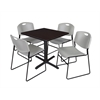 "Cain 30"" Square Breakroom Table- Mocha Walnut & 4 Zeng Stack Chairs- Grey"