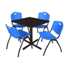 "Cain 30"" Square Breakroom Table- Mocha Walnut & 4 'M' Stack Chairs- Blue"