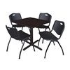 "Cain 30"" Square Breakroom Table- Mocha Walnut & 4 'M' Stack Chairs- Black"