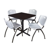 "Cain 30"" Square Breakroom Table- Mocha Walnut & 4 'M' Stack Chairs- Grey"