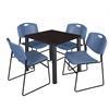 "Kee 30"" Square Breakroom Table- Mocha Walnut/ Black & 4 Zeng Stack Chairs- Blue"
