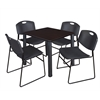"Kee 30"" Square Breakroom Table- Mocha Walnut/ Black & 4 Zeng Stack Chairs- Black"