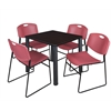 "Kee 30"" Square Breakroom Table- Mocha Walnut/ Black & 4 Zeng Stack Chairs- Burgundy"