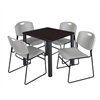 "Kee 30"" Square Breakroom Table- Mocha Walnut/ Black & 4 Zeng Stack Chairs- Grey"