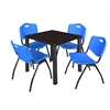 "Kee 30"" Square Breakroom Table- Mocha Walnut/ Black & 4 'M' Stack Chairs- Blue"