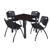 "Kee 30"" Square Breakroom Table- Mocha Walnut/ Black & 4 'M' Stack Chairs- Black"