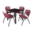"Kee 30"" Square Breakroom Table- Mocha Walnut/ Black & 4 'M' Stack Chairs- Burgundy"