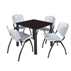 "Kee 30"" Square Breakroom Table- Mocha Walnut/ Black & 4 'M' Stack Chairs- Grey"