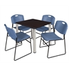 "Kee 30"" Square Breakroom Table- Mocha Walnut/ Chrome & 4 Zeng Stack Chairs- Blue"