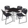 "Kee 30"" Square Breakroom Table- Mocha Walnut/ Chrome & 4 Zeng Stack Chairs- Black"