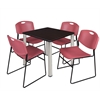 "Kee 30"" Square Breakroom Table- Mocha Walnut/ Chrome & 4 Zeng Stack Chairs- Burgundy"