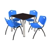 "Kee 30"" Square Breakroom Table- Mocha Walnut/ Chrome & 4 'M' Stack Chairs- Blue"