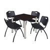 "Kee 30"" Square Breakroom Table- Mocha Walnut/ Chrome & 4 'M' Stack Chairs- Black"