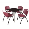 "Kee 30"" Square Breakroom Table- Mocha Walnut/ Chrome & 4 'M' Stack Chairs- Burgundy"
