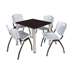 "Kee 30"" Square Breakroom Table- Mocha Walnut/ Chrome & 4 'M' Stack Chairs- Grey"