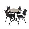 "Cain 30"" Square Breakroom Table- Maple & 4 Restaurant Stack Chairs- Black"