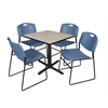 """Cain 30"""" Square Breakroom Table- Maple & 4 Zeng Stack Chairs- Blue"""
