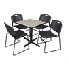 "Cain 30"" Square Breakroom Table- Maple & 4 Zeng Stack Chairs- Black"