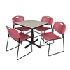 "Cain 30"" Square Breakroom Table- Maple & 4 Zeng Stack Chairs- Burgundy"