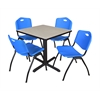 "Cain 30"" Square Breakroom Table- Maple & 4 'M' Stack Chairs- Blue"