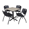 "Cain 30"" Square Breakroom Table- Maple & 4 'M' Stack Chairs- Black"