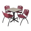 "Cain 30"" Square Breakroom Table- Maple & 4 'M' Stack Chairs- Burgundy"