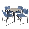 "Kee 30"" Square Breakroom Table- Maple/ Black & 4 Zeng Stack Chairs- Blue"