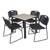 "Kee 30"" Square Breakroom Table- Maple/ Black & 4 Zeng Stack Chairs- Black"