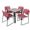 "Kee 30"" Square Breakroom Table- Maple/ Black & 4 Zeng Stack Chairs- Burgundy"