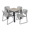 "Kee 30"" Square Breakroom Table- Maple/ Black & 4 Zeng Stack Chairs- Grey"