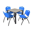 "Kee 30"" Square Breakroom Table- Maple/ Black & 4 'M' Stack Chairs- Blue"