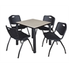 "Kee 30"" Square Breakroom Table- Maple/ Black & 4 'M' Stack Chairs- Black"