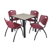 "Kee 30"" Square Breakroom Table- Maple/ Black & 4 'M' Stack Chairs- Burgundy"