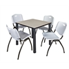 """Kee 30"""" Square Breakroom Table- Maple/ Black & 4 'M' Stack Chairs- Grey"""
