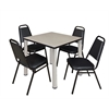 """Kee 30"""" Square Breakroom Table- Maple/ Chrome & 4 Restaurant Stack Chairs- Black"""