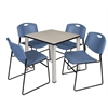 "Kee 30"" Square Breakroom Table- Maple/ Chrome & 4 Zeng Stack Chairs- Blue"