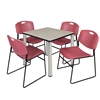 "Kee 30"" Square Breakroom Table- Maple/ Chrome & 4 Zeng Stack Chairs- Burgundy"
