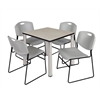 "Kee 30"" Square Breakroom Table- Maple/ Chrome & 4 Zeng Stack Chairs- Grey"