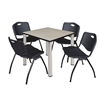 "Kee 30"" Square Breakroom Table- Maple/ Chrome & 4 'M' Stack Chairs- Black"