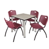 "Kee 30"" Square Breakroom Table- Maple/ Chrome & 4 'M' Stack Chairs- Burgundy"