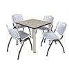 "Kee 30"" Square Breakroom Table- Maple/ Chrome & 4 'M' Stack Chairs- Grey"