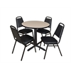 "Cain 30"" Round Breakroom Table- Beige & 4 Restaurant Stack Chairs- Black"