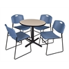 "Cain 30"" Round Breakroom Table- Beige & 4 Zeng Stack Chairs- Blue"