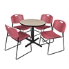 "Cain 30"" Round Breakroom Table- Beige & 4 Zeng Stack Chairs- Burgundy"